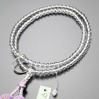 曹洞宗 数珠 女性用 8寸 本水晶 本銀輪 正絹房(藤色)2000400500382 送料無料