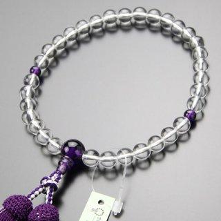 数珠 女性用 約8ミリ 本水晶 紫水晶 正絹2色房 2000200402022 送料無料