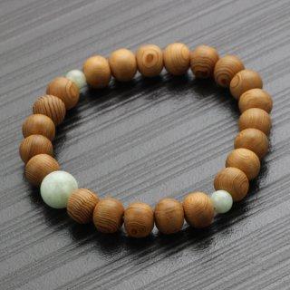 数珠ブレスレット 約8×9ミリ 屋久杉 ビルマ翡翠 2000800302531 送料無料
