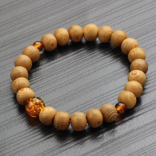 数珠ブレスレット 約8×9ミリ 屋久杉 琥珀 2000800302548 送料無料