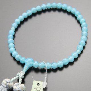 数珠 女性用 約7ミリ 龍紋瑪瑙 ブルー系 銀花かがり房 2000200402213 送料無料
