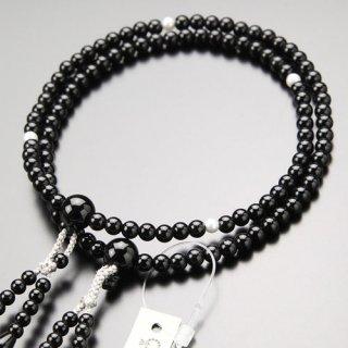 八宗派兼用 数珠 女性用 8寸 黒オニキス 淡水パール 正絹房 2000400801823 送料無料