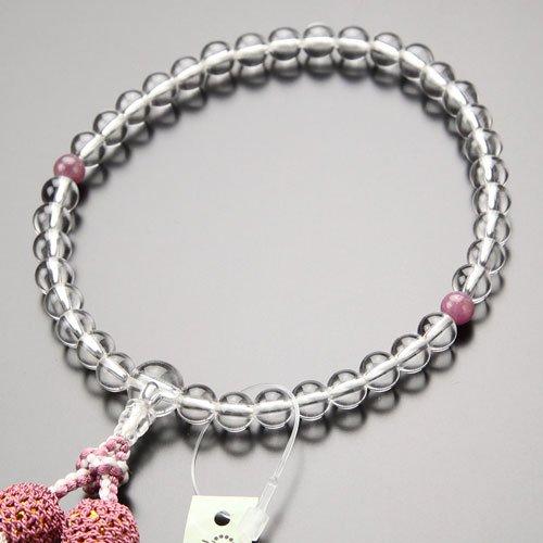 数珠 女性用 約7ミリ 本水晶 ルビー 正絹2色房【略式数珠 京念珠 7月の誕生石】【送料無料】