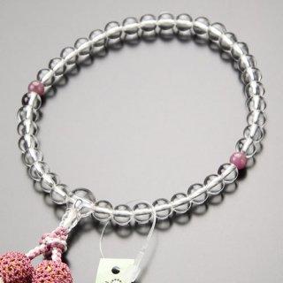 数珠 女性用 約7ミリ 本水晶 ルビー 正絹2色房 2000200302414 送料無料