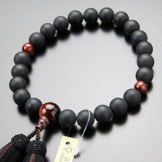 数珠 男性用 22玉 黒オニキス(艶消し)赤虎目石 正絹2色房 2000100401781 送料無料
