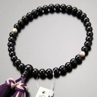 数珠 女性用 約7ミリ 黒オニキス 2天 淡水パール(紫系) 銀花かがり房 2000200200635