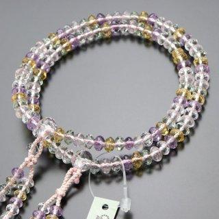 真言宗 数珠 女性用 8寸 スターシェイプ ミックスクォーツ 梵天房 2000400100759 送料無料