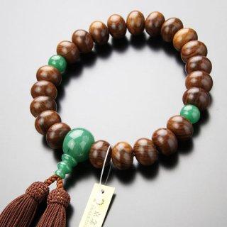 数珠 男性用 22玉 みかん玉 栴檀(艶有)印度翡翠 正絹房 101220094 送料無料