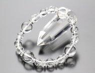 約12本水晶 約8ミリカット水晶・本水晶 そろばん水晶 ブレスレット 【数珠】【パワーストーン】