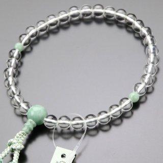 数珠 女性用 約6ミリ 本水晶 ビルマ翡翠 正絹房 102000054 送料無料