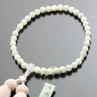 数珠 女性用 約7ミリ 蝶貝 ローズクォーツ 正絹房 102070083
