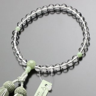 数珠 女性用 約8ミリ 本水晶 ビルマ翡翠 正絹2色房 102080076 送料無料