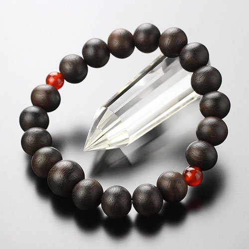 数珠 ブレスレット 約10ミリ 黒檀 二天瑪瑙【腕輪念珠 数珠ブレス アゲート お守り 107100027】