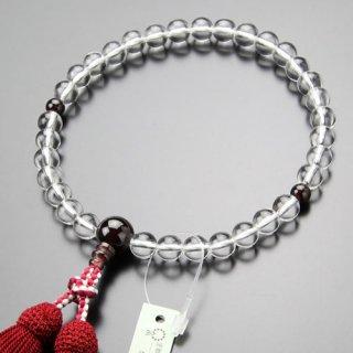 数珠 女性用 約8ミリ 本水晶 ガーネット 正絹房 102080020 送料無料