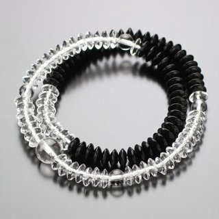 数珠ブレスレット 108玉 平玉 本水晶/黒オニキス 107000116 送料無料