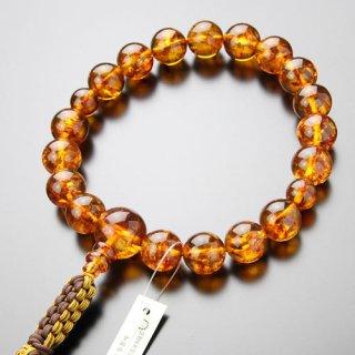 浄土真宗 数珠 男性用 18玉 琥珀 2色紐房(釈迦結び)101180044 送料無料