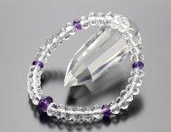 数珠ブレスレット スターシェイプ 本水晶 (中) 紫水晶【腕輪念珠/2月の誕生石/アメジスト】【送料無料】