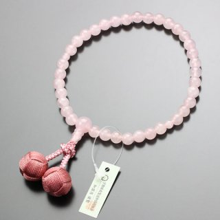 数珠 女性用 約7ミリ ローズクォーツ 小田巻梵天房 102070086