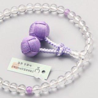 数珠 女性用 約7ミリ 本水晶 2天 藤雲石 梵天房 102070089