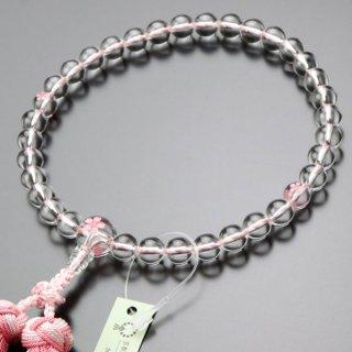 数珠 女性用 約8ミリ 本水晶 桜彫り 銀花かがり房 2000200302759 送料無料