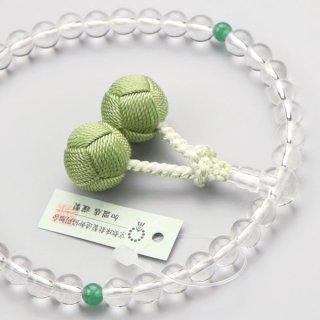 数珠 女性用 約7ミリ 本水晶 2天 印度翡翠 小田巻梵天房 102070088
