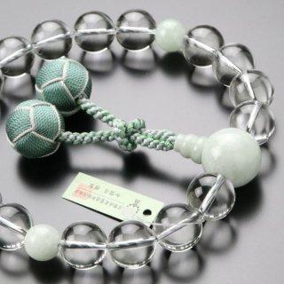 数珠 男性用 18玉 本水晶 ビルマ翡翠 2色梵天房 2000100601037 送料無料