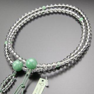 日蓮宗 数珠 男性用 尺二 本水晶 5A´ビルマ翡翠 2色梵天房 2000300400607 送料無料