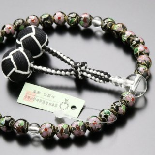 数珠 女性用 約8ミリ 七宝焼(黒) 本水晶 2色梵天房 2000200302773 送料無料