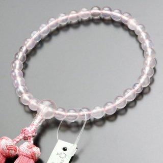 数珠 女性用 約8ミリ 本紅水晶 銀花かがり房 102070148 送料無料