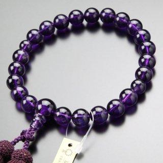 【写真現品お届け】数珠 男性用 22玉 4A´ 紫水晶 正絹房 2000100800850 送料無料