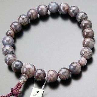 数珠 男性用 20玉 グレー系縞瑪瑙 正絹2色房 101200056 送料無料