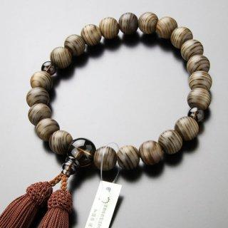 数珠 男性用 22玉 神代杉 茶水晶 正絹房 101220108 送料無料