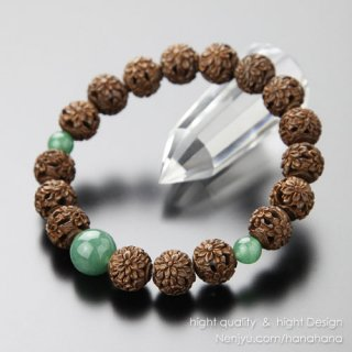 数珠 ブレスレット 約10ミリ 菊花彫り 柘植 印度翡翠【腕輪念珠/アベンチュリン】【送料無料】