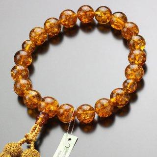 数珠 男性用 18玉 琥珀 正絹2色房(4匁)101180048 送料無料