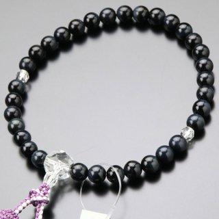 数珠 女性用 約8ミリ 青虎目石 カット水晶 正絹2色房 102080089 送料無料