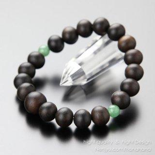 数珠ブレスレット 約10ミリ 縞黒檀 二天印度翡翠 107100028