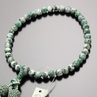 数珠 女性用 約7ミリ 白苔瑪瑙 正絹2色房 102070099 送料無料