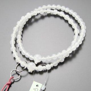 浄土宗 数珠 女性用 8寸 白オニキス 本銀輪 梵天房 102550040 送料無料