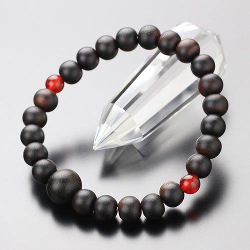 8ミリ 縞黒檀(艶消し) 二天瑪瑙 腕輪念珠【107080072】【数珠ブレスレット】【パワーストーン】