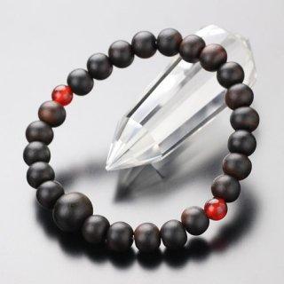 数珠ブレスレット 約8ミリ 縞黒檀 二天瑪瑙 107080072