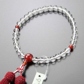 数珠 女性用 約8ミリ 上質 本水晶 瑪瑙 正絹2色房 102080099 送料無料
