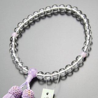 数珠 女性用 約8ミリ 本水晶 藤雲石 正絹房 102080100