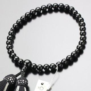 数珠 女性用 約7ミリ 黒オニキス 正絹2色房 102070147