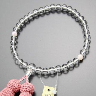 数珠 女性用 約7ミリ 本水晶 ピンクオパール 正絹房 102070107