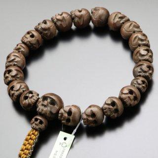 浄土真宗 男性用 数珠 18玉 髑髏彫り 柘植 紐房 101180060 送料無料