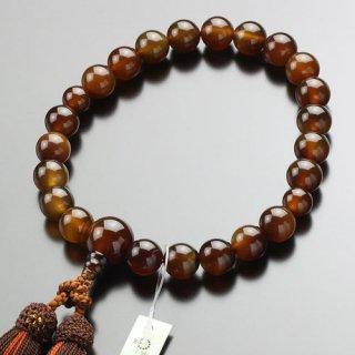 数珠 男性用 22玉 ブラウン瑪瑙 正絹2色房 101220126 送料無料