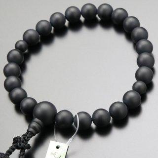 数珠 男性用 22玉 黒オニキス(艶消し)正絹2色房 101220130 送料無料