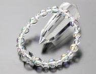パワーストーン ブレスレット 約12ミリスターカット水晶 約8ミリオーラ(白)6ミリカット水晶 シルバーロンデル