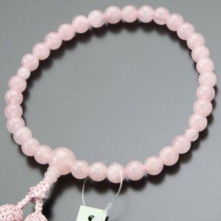 数珠 女性用 約8ミリ ローズクォーツ 正絹2色房 102080114 送料無料