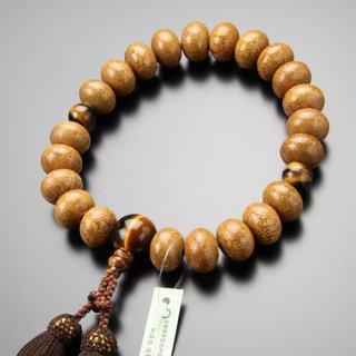 数珠 男性用 22玉 みかん玉 天竺菩提樹 虎目石 正絹房 101220135 送料無料